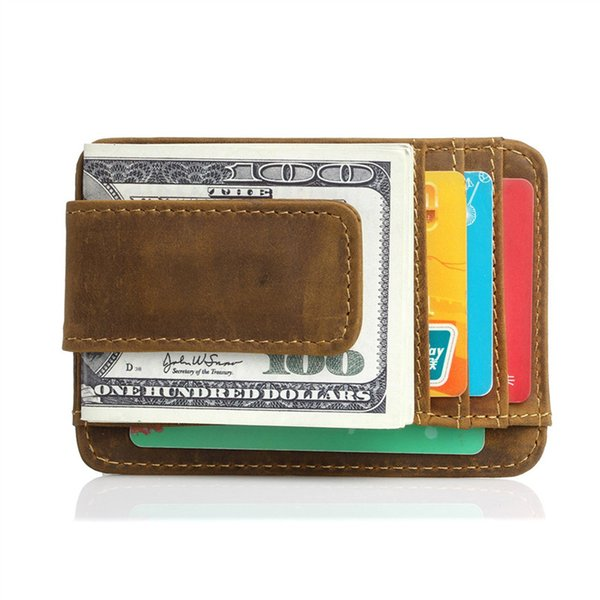 whole saleNesitu High Quality Vintage Slim Brown Genuine Leather Money Clip With Magnet Crazy Horse Leather Men Wallets Purse #M023