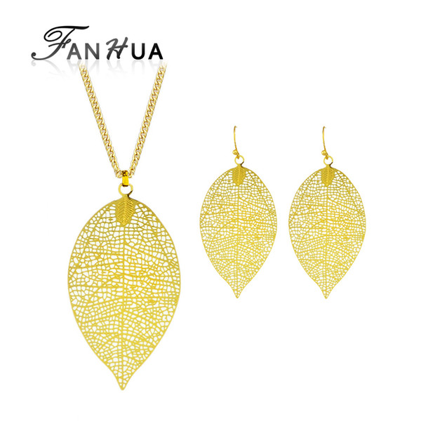 FANHUA New Fashion Jewelry Sets Hollow Out Gold-Color Long Chain Leaf Pendant Necklace and Drop Earrings