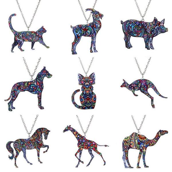 Acrylic Animal Necklace Pet Cat Dragon Pig Bird Wolf Horse Fish Dog Necklace Women Bohemia Jewelry Pendant Ethnic Long Necklace