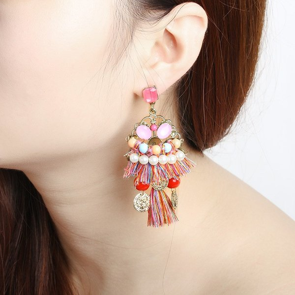 10pairs/lot Fringed Earring For Wedding Party Jewelry Accessories Tassel Dangle Earrings With Crystal Decor Plated Eardrop Ethnic Style
