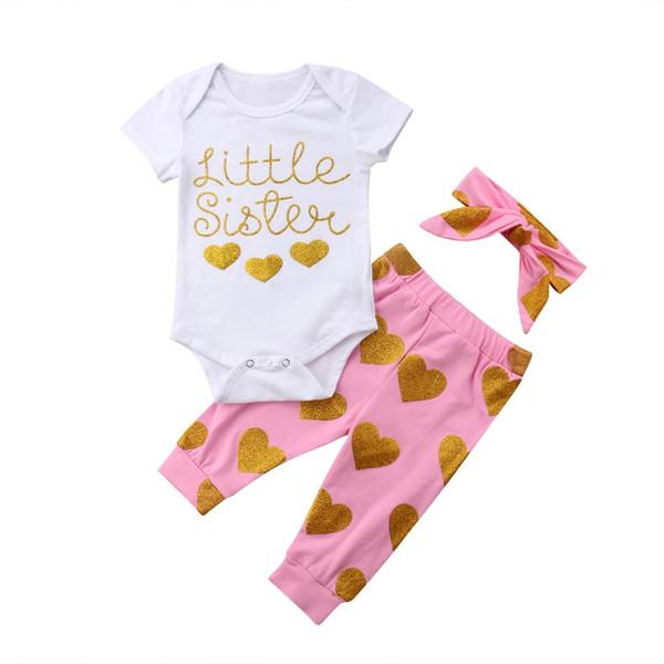 2018 bebé recién nacido infantil trajes corazón encantador mameluco +  pantalones largos de color rosa + 192ebc341c6