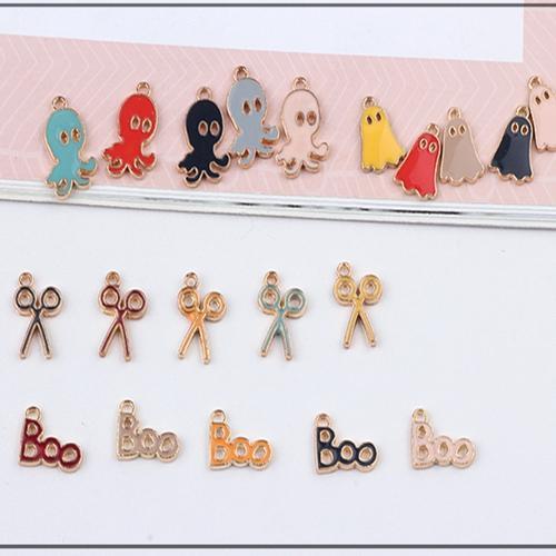 50PCS, Enameled scissors octopus ghost charm , earring bracelet necklace handmade findings, jewelry findings