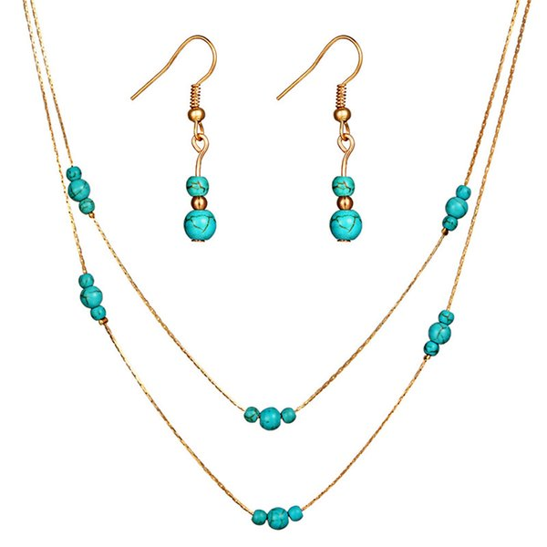 Fashion Bridal Jewelry Sets For Women Turquoise Stone Choker Necklace Dangle Earrings Gold Silver Color Statement Jewelry Gift HZ