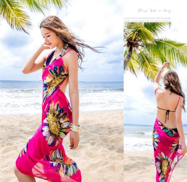 96f347d806dcc Women Floral Chiffon Beach Cover-ups Dress Pareo Beach Towel Sexy Sarong  Beach Bikini Wrap