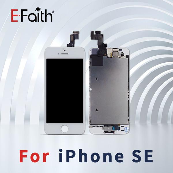 Bianco e nero per iPhone 5S / SE LCD completo completo con piastra posteriore digitalizzatore + tasto Home + gruppo fotocamera frontale completo Spedizione gratuita