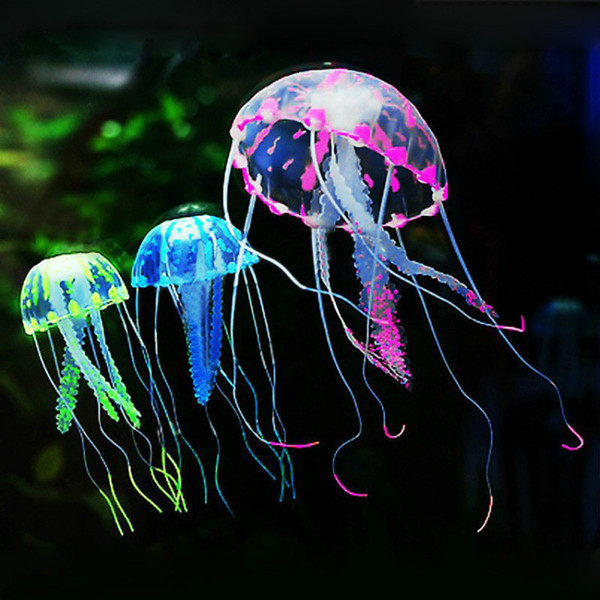 Wholesale Soft Colorful Silicon Fluorescent Floating Glowing Jellyfish Effect Fish Tank Decoration Aquarium Artificial Jelly fish Ornament