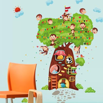 Animal Tree Wall Sticker Wallpaper Wall Picture Art Vintage Room Home Decor Kitchen Accessories Household Craft Suppllies