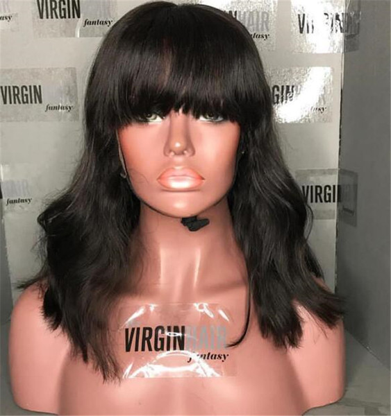 Human Hair Wig Full Bangs Body Wavy Unprocessed Virgin Lace Front Wigs Black Women Brazilian Full Lace Wig With Baby Hair