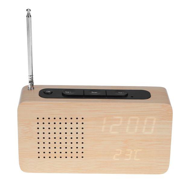 Radio FM Wooden Bamboo LED Estéreo USB Digital Despertador Electrónico Pantalla LED Reloj de Escritorio Electrónico Mini Receptor de Radio FM