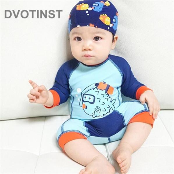 DVOTINST Baby Boy Swimwear Swimming Clothes Swimwear+Hat 2pcs Cartoon Models Spa Bathing Summer Beach Swimsuit Clothing Costume