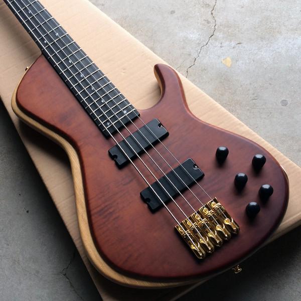Новое поступление матовая 5 струнная электрическая бас-гитара, корпус вяза с золотой фурнитурой, эбеновый гриф, реальные фотографии