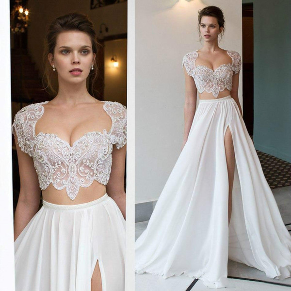 2018 Sexy Sweetheart Boho A-Line Wedding Dresses Cap Sleeves High Split Crystals Two Pieces Bridal Gowns Plus Size Custom Made Vestidos