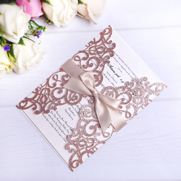 top popular 2020 New Rose Gold Glitter Laser Cut Invitations Cards With Beige Ribbons For Wedding Bridal Shower Engagement Birthday Graduation 2020