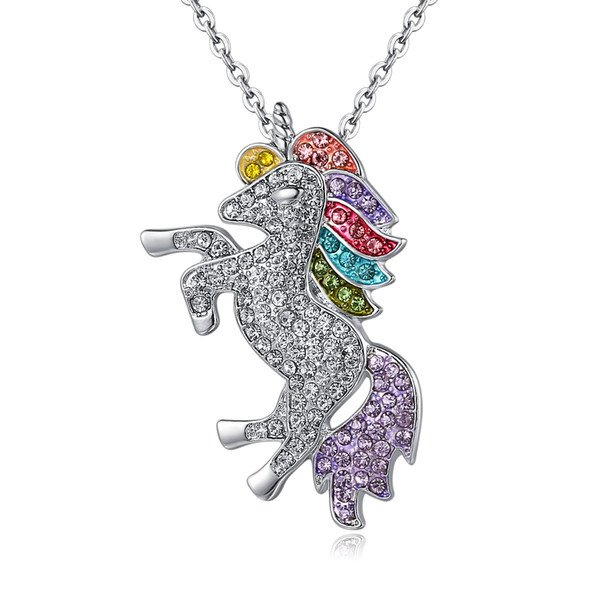 Wholesale Fashion Women Unicorn Horse Pendant Necklace Plating Chain Multicolour Crystal Choker Christmas Jewelry Lovely Gift Free Shipping