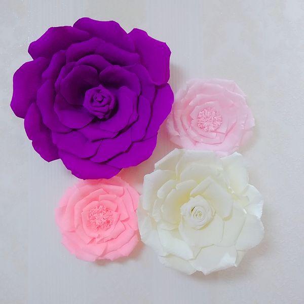 Compre 4 Peça Sortidas De Papel Crepom Grande Flor Para A Decoração Da Galeria Decorações Da Sala Da Menina Floral Do Berçário Do Bebê Festa De