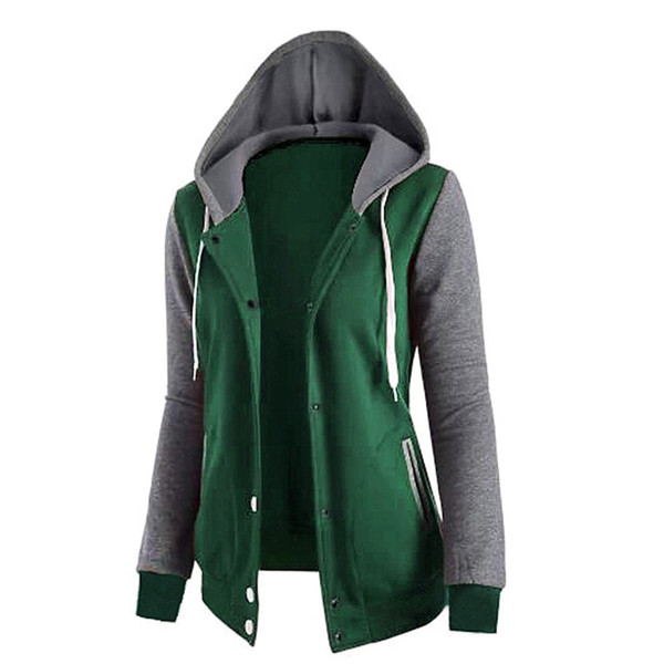 Women patchwork Sweatshirts Female Long Sleeve Baseball Hoodies Causal Spring Autumn Jacket with button 4colors 4size