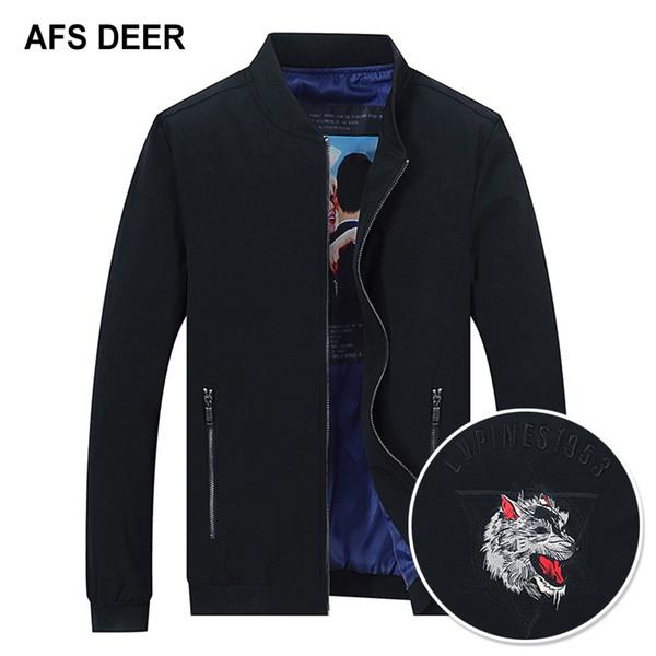 Jacken Mantel Casual Plus Frühling Für Herren Schwarze Männer Größe Stehkragen Outwear Herbst Wolf Stickerei 5xl Bomber Großhandel Jacke zSVpUM