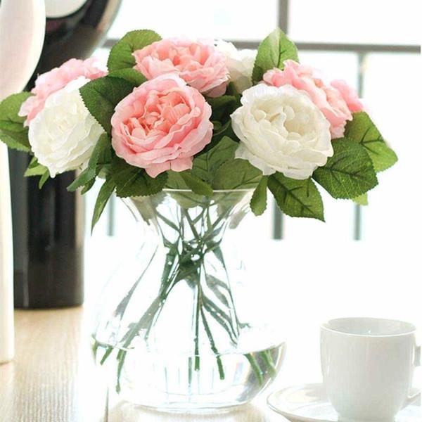 Best Artificial Flowers,Fake Flowers Silk 6 Heads Plastic Roses ...