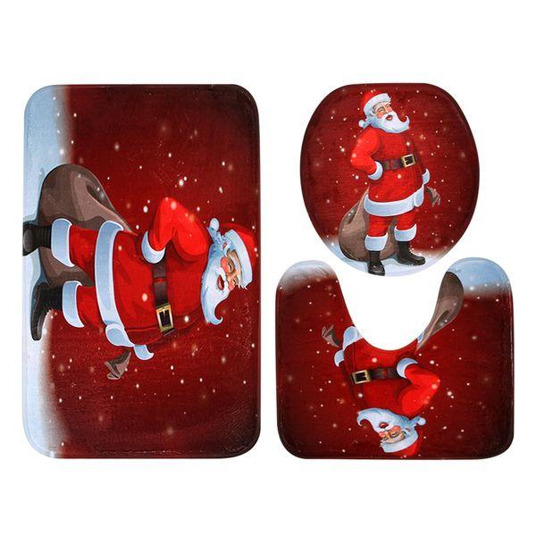 3 Pcs Christmas Santa Claus Pattern Toilet Seat Cover Toilet Seat Cover Bath Mat Holder For Bathroom