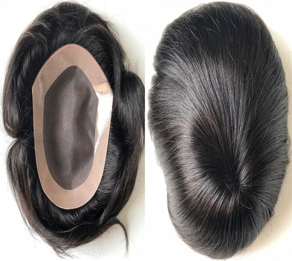Mono with PU Perimeter Toupee Top Selling Black Hair Unprocessed Virgin Malaysian Human Hair Straight Toupee for Black Men Free Shipping!