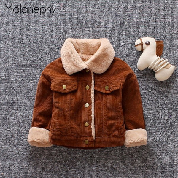Molanephy Baby Boys Coats Autumn Winter Parkas Warm Plus Velvet Casual Corduroy Turn-Down Collar Single Breasted Kids Clothes