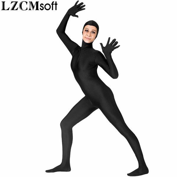 LZCMsoft Mujeres Cuerpo Completo Zentai Catsuit Spandex Lycra Cara Abierta Cuerpo Completo Unitard Danza Funcionamiento exterior Bodysuit