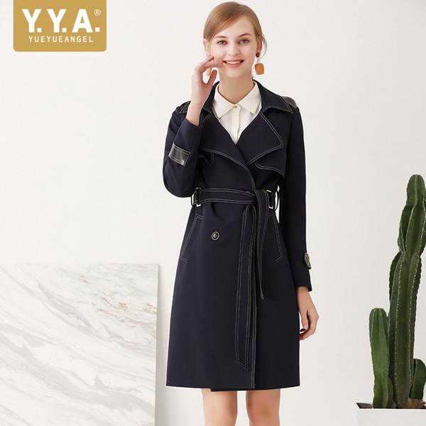 British Fashion Womens Windbreaker New Design Long Sleeve Single Breasted Long Trench Coat Women Belted Black Coat Female Fall