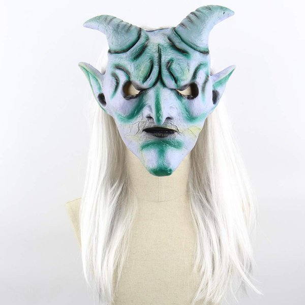 new Halloween Party mask Long Hair Silver Horn King Mask Costume Props Latex Horror Mask