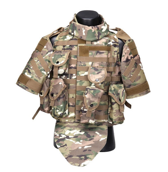 Gilet tactique Camouflage combat Armure de corps avec Pouch / Pad Airsoft paintball Assaut Plate Carrier CS équipement