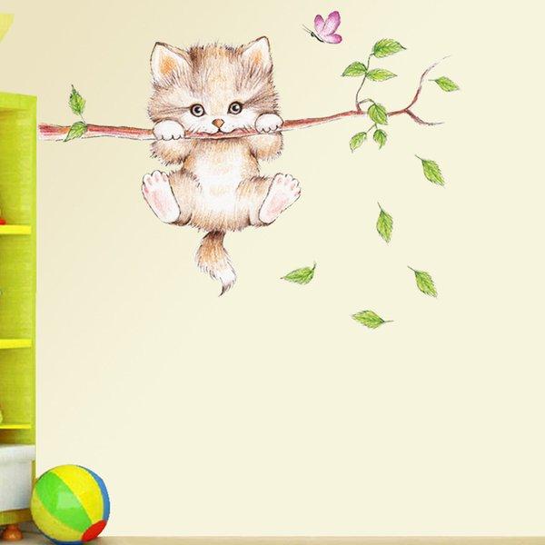 New Wall Stickers Cartoon Cats Branch Kindergarten Background Wallpaper PVC Arts Decals Waterproof Self-adhesive Children Bedroom Decoration