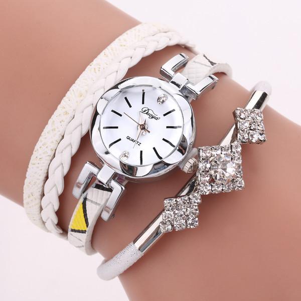 Myelo Luxury Braided Wrap Leather Bracelet Watches For Women Square Rhinestone Crystal Quartz WristWatch Bangle Jewelry Femme