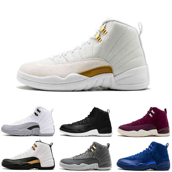 Online 12 French Blue Bordeaux TAXI Playoff Flu Game Deep Royal Blue Suede 12S Basketball Shoes Men Sports Shoes Athletic Trainers Sneakers
