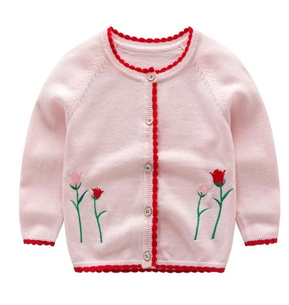 2018 New spring and autumn girls knit embroidery cardigan in the children's cotton thin cardigan free shipping