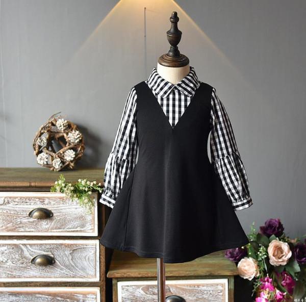 Girls Dresses Christmas 2018 autumn and winter new Korean female baby plaid shirt collar fake two-piece princess dress HS10069
