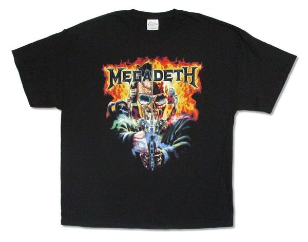 Megadeth Two Faced Vic Gears of War Lyrics Black T Shirt New Official Mens 2018 fashion Brand T Shirt O-Neck 100%cotton