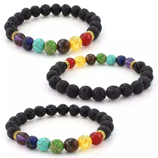 7 Chakra guérison équilibre perles bracelet de lave yoga Reiki prière Pierre *tr