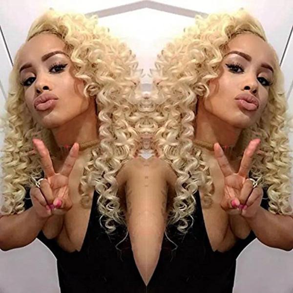 Natürliche weiche verworrenes lockiges Haar Lace Front Perücke für schwarze Frau 12-26Zoll Blonde 613 # lange Kinkys lockige synthetische Perücken hitzebeständig