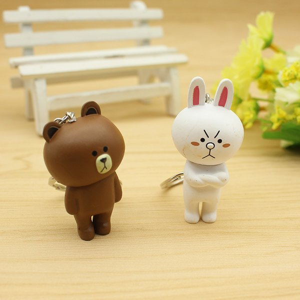 First Generation 6 Cute Line Emoji Cartoon Doll Brown Bear Kony Rabbit Key Chain Bag And Pendant Wholesale