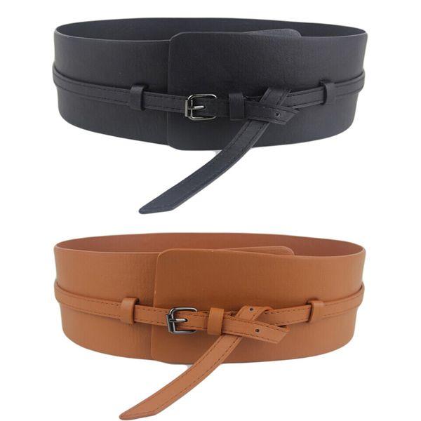 Women Ladies Fashion Super Wide Faux Leather Corset Waistband Belt (Black/Brown) BLTLL0031