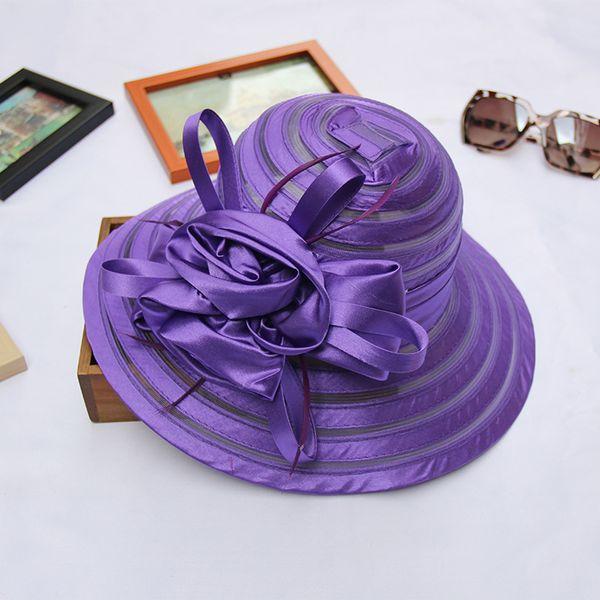 2018 New Kentucky Derby Church Hats For Women Flower Organza Mesh Hat Wide Brim Flat Caps 6pcs/lot
