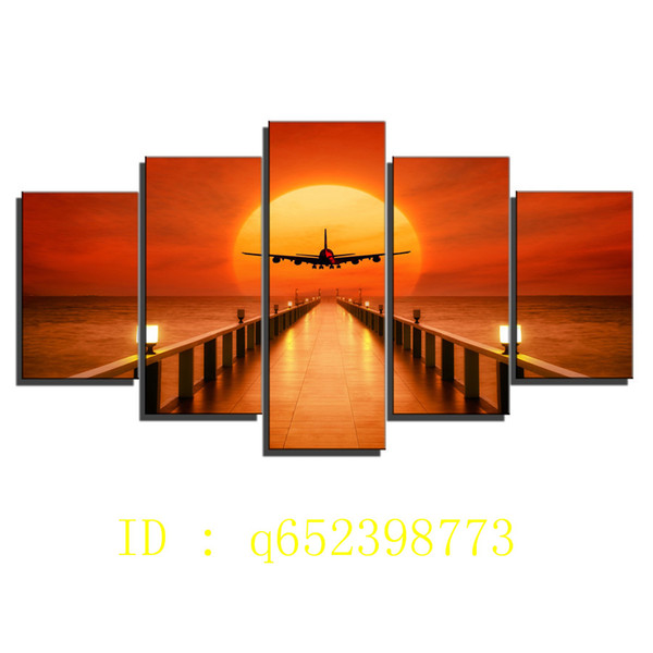 Airplane,sunset Horizon,5 Pieces HD Canvas Printing New Home Decoration Art Painting/ Unframed / Framed