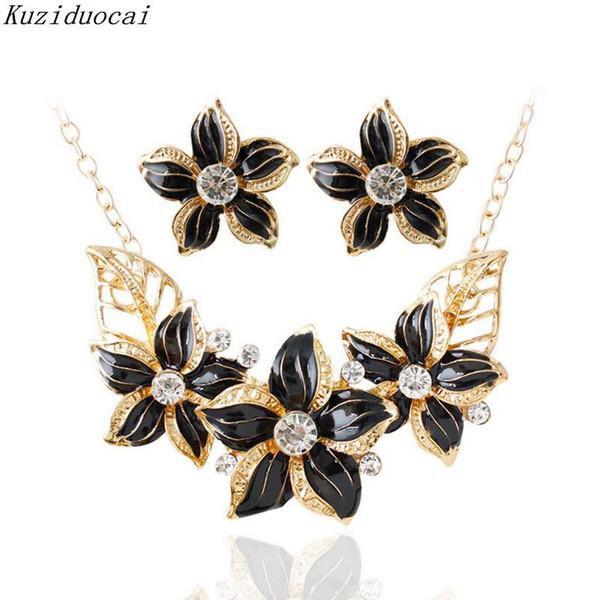 Kuziduocai 2017 New ! Fashion Fine Jewelry Set Metal Crystal Flowers 4 Colors Stud Earrings Necklaces Pendant For Women Gift C-8