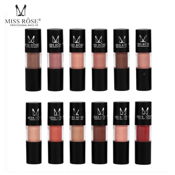 MISS ROSE 12Pcs Lipstick Liquid Matte Lip Gloss maquiagem Long Lasting Moisture Pigment Nude Lips Makeup Red Halloween Lipstick