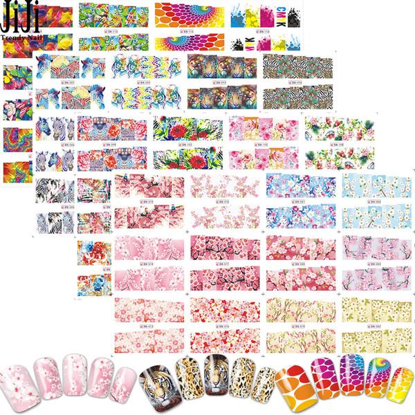 Prego na moda 48 pçs / set Nail Art Stickers Unhas De Transferência De Água Decalques Flores Animais Dos Desenhos Animados Manicure Ferramentas DIY JIBN073-120