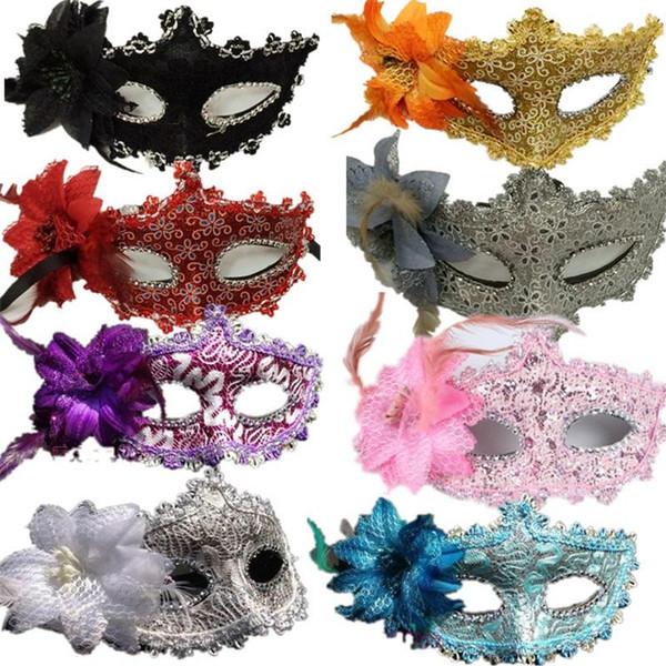 Originalidad Halloween Feather Face Maks Masquerade Disfraz Party Supplies Moda Hombres y mujeres Flower False Mask 2 3hj ff