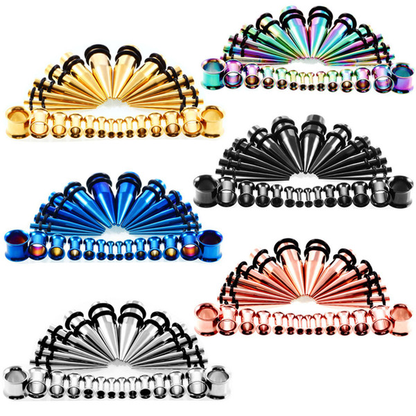 28pcs acrílico Ear Taper con Plug Kit de estiramiento túnel de la carne Ear Gauges Stretcher Expander Body Piercing Jewelry 6 Color G86L