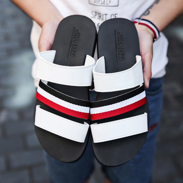 best selling New Europe Fashion Brand designer slippers mensstriped sandals causal Non-slip summer huaraches slippers flip flops slipper good quality