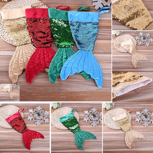 Christams Decorations Mermaid Christams Stocking Gift Wrap Bags Bling Bling Bead Flip Tail Calze Natale Decorazione della casa 16 pollici