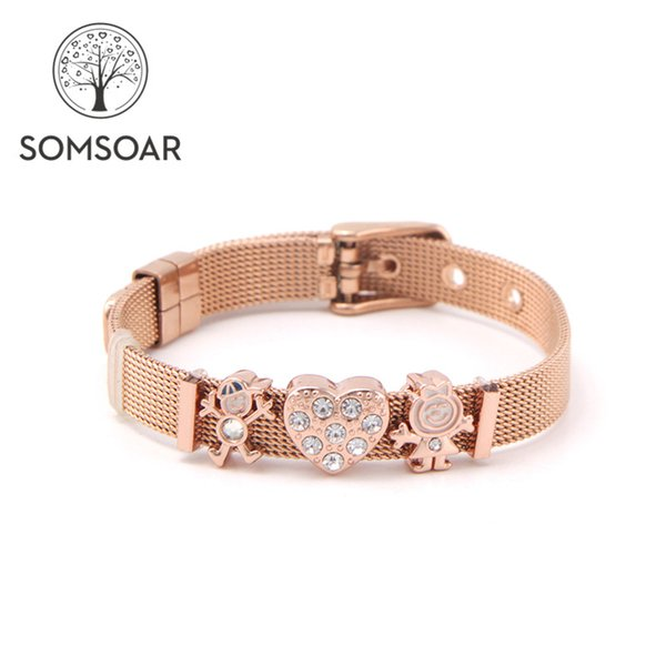 Drop shipping Somsoar Jewelry 8mm Width Rose Gold Boy Love Girls Slide Charm Mesh Bracelet set Kids child Bracelet
