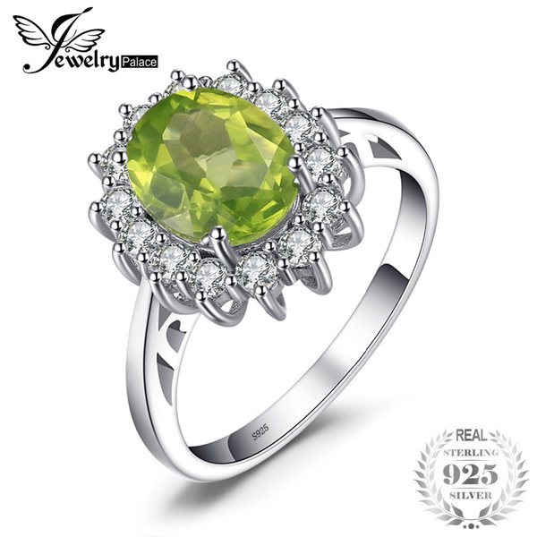 925 sterling silver Engagement Ring Princess Diana William Kate Middleton's Natural Green Peridot 925 Sterling Silver For Women